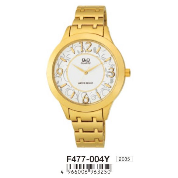 Q&Q női fémcsatos karóra, quartz, arany színű, F477-004Y