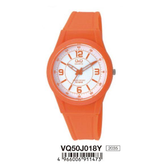 Q&Q uni  quartz műanyag narancssárga tok és szíj, fehér számlap, analóg, ásványüveg, VQ50J018Y