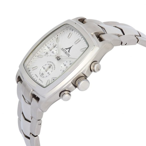 Astron férfi karóra, ezüst színű tok és csat, chronograph, 5ATM water resist, fehér számlap
