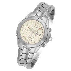 Astron férfi chronograph karóra, ezüst színű tok és csat, fehér számlap