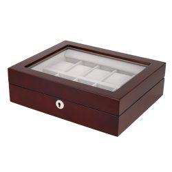 Óratartó doboz, 10 rekeszes, barna fa, bézs párnás