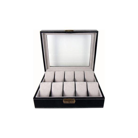 Óratartó doboz, 10 rekeszes, fekete (PU bőr, szűrke, párnás)