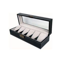 Óratartó doboz, 6 rekeszes, fekete (PU bőr, szűrke, párnás)
