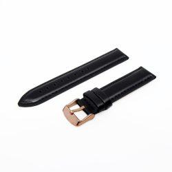 Karóra bőrszíj,fekete rózsaarany színű, varrott szélű, bélelt, 75+115 mm/18 mm
