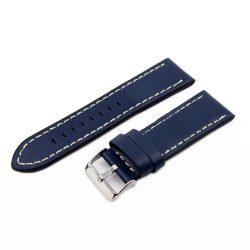 Karóra bőrszíj, varrott dizájn, kék színű, 75+115 mm/24 mm