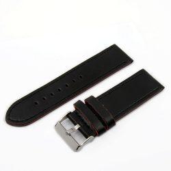 Karóra bőrszíj, varrott dizájn, fekete színű, 75+115 mm/24 mm