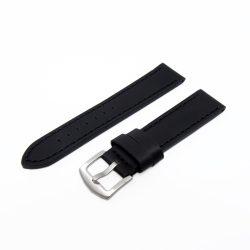 Karóra szíj, sportos varrott dizájn, fekete ezüst színű, mérete 85+125/22 mm XL