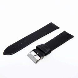 Karóra bőrszíj, varrás nélküli dizájn, fekete ezüst színű, 75+115 mm/22 mm
