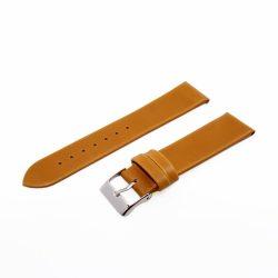 Karóra bőrszíj, varrás nélküli dizájn, világosbarna ezüst színű, 75+115 mm/20 mm