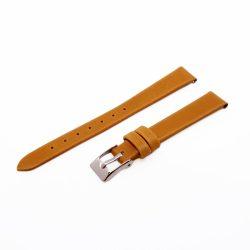 Karóra bőrszíj, varrás nélküli dizájn, világosbarna ezüst színű, 65+105 mm/12 mm