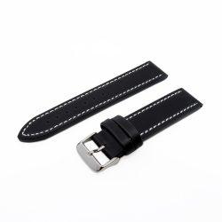Karóra bőrszíj, varrott dizájn, fekete ezüst színű, 75+115 mm/20 mm