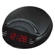 Hálózati falióra, fekete tok, piros LED, FM rádió funkcióval