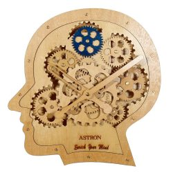 Astron fa falióra, fogaskerekes dizájn, fej forma, natúr szín
