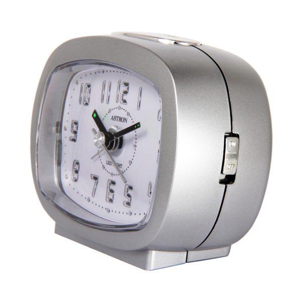 Astron ébresztőóra, quartz, ezüst színű, LED-es számlap