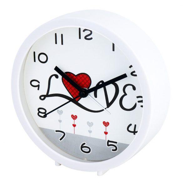 Figurás fehér ébresztőóra (szerelmes pár)