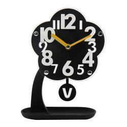 Figurás ingás quartz asztali óra (fekete virág)