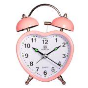 Merion fém ébresztőóra, quartz, rózsaszín (szív)