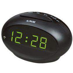 """Hálózati asztali óra, fekete, zöld LED 0.9"""""""