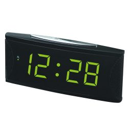 """Hálózati asztali óra, fekete, zöld LED 1.8"""""""