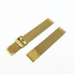 Acél karóra csat, fonott (mesh) dizájn, arany színű (IPG), 105+80 mm/18 mm