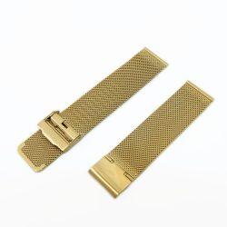 Acél karóra csat, fonott (mesh) dizájn, arany színű (IPG), 105+80 mm/22 mm