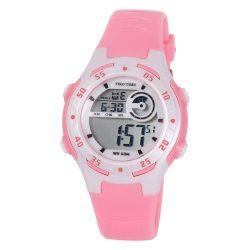 Tiko Time női műanyag karóra, quartz, rózsaszín és fehér színű tok és csat, LCD számlap