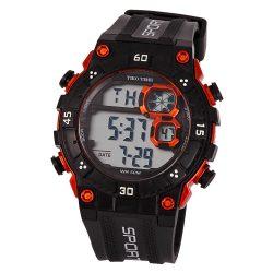 Tiko Time férfi műanyag karóra, quartz, fekete és narancssárga színű tok és csat, LCD számlap