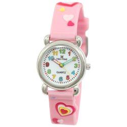 Tiko Time karóra gyerekeknek, quartz, 3D figurás rózsaszín alapon szívecskés szíj