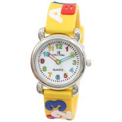Tiko Time karóra gyerekeknek, quartz, 3D figurás narancssárga alapon betűs és számos szíj