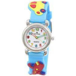 Tiko Time karóra gyerekeknek, quartz, 3D figurás kék alapon autós és repülős szíj