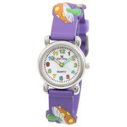 Tiko Time karóra gyerekeknek, quartz, 3D figurás lila alapon gombás szíj