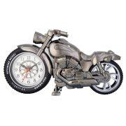 Ébresztő óra, quartz, motor forma, fémes szürke szín