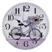 Falióra, quartz, MDF, kerek / lila bicikli